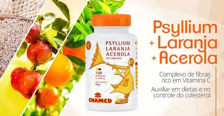 ch 104418 chamel capsulas psyllium laranja acelora 500mg 100 cp