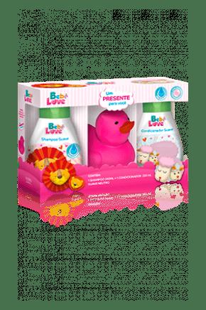 kit suave bebe love shampoo 240ml condicionador 220ml presente patinho rosa