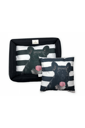 caminha para cachorro com almofada preta listrada bulldog com ziper